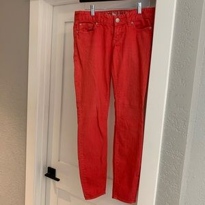 """Express coral low rise jeans, 6 1/2"""" rise"""